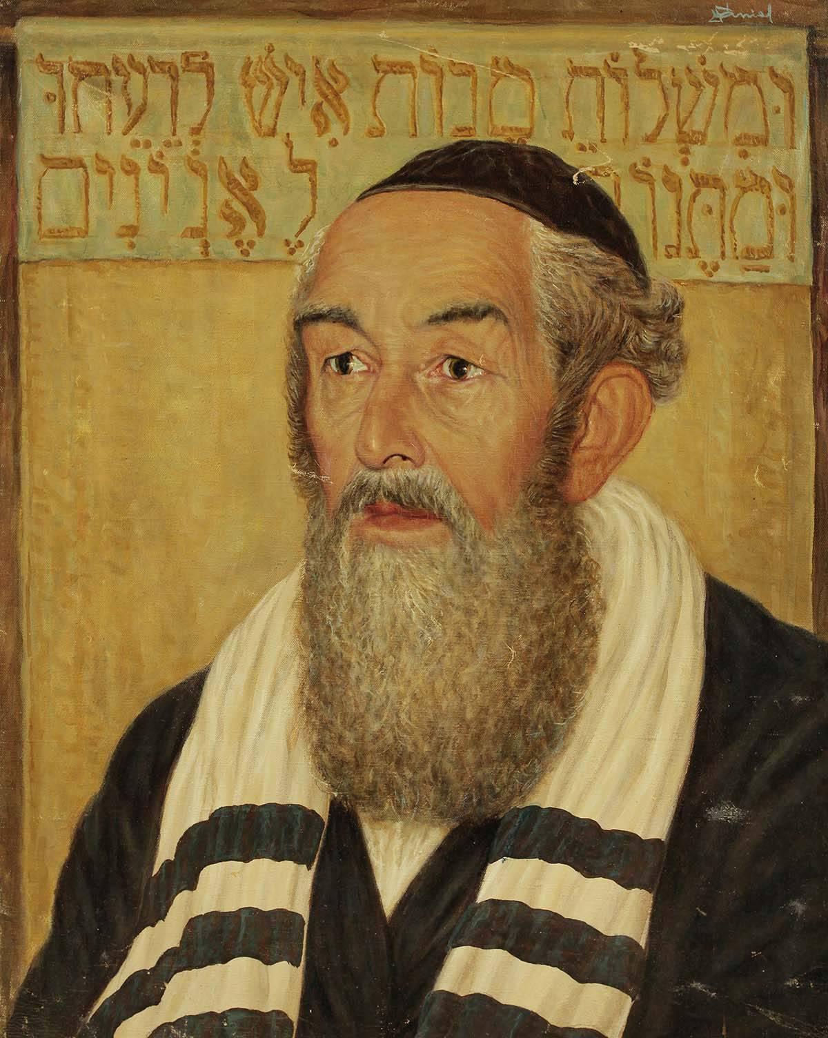 Portrait of a Rabbi, Judaica Oil Painting, Purim