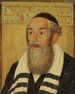 Portrait of a Rabbi, Judaica Oil Painting, Purim