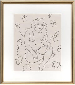 Sitting Nude, Drawing in Ink
