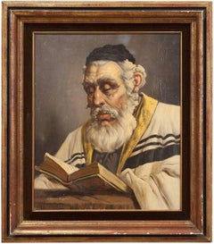 Hungarian Rabbi Large Judaica Portrait Oil Painting