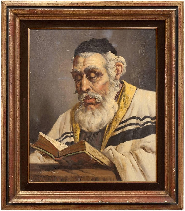 Unknown Portrait Painting - Hungarian Rabbi Large Judaica Portrait Oil Painting