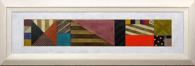 """Gregg Robinson, American (born 1948) """"Cipher Bar 20"""" Oil on Canvasboard Panel. Artist signed, title and dated 1990 far right. Very minor rubbing to paint. Panel measures 15-1/4"""" H x 63-1/2"""" W, frame measures 24-1/4"""" H x"""