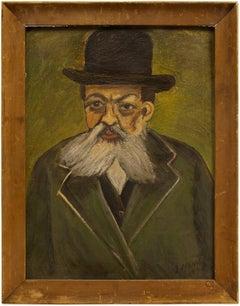 Rare World War II Era Judaica Rabbi Portrait, Oil Painting