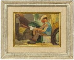 Vintage 1950s Israeli Oil Painting, Signed in Hebrew  Kibbutz Worker Reading