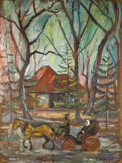 LAKEWOOD N.J., 1936 Modernist Oil Painting, Judaica