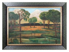 Early Modernist River Landscape with Trees and Mountains WPA artist