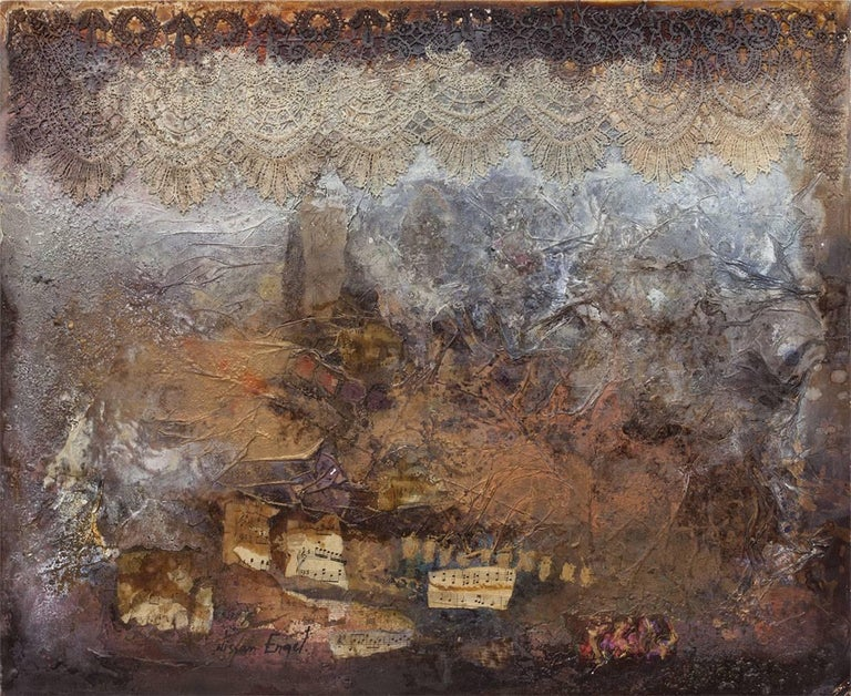 Nissan Engel Abstract Painting - Collage Assemblage with lace and Music Notes Abstract Composition