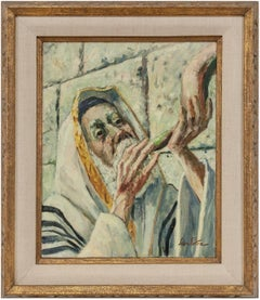 Judaica Painting Blowing Shofar at the Western Wall