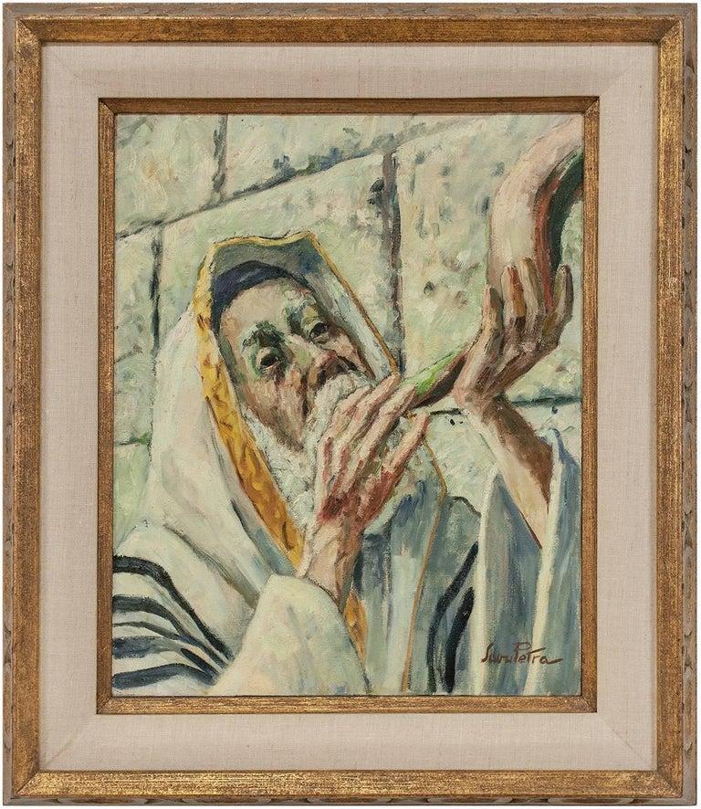 Savu Petra Dan Figurative Painting - Judaica Painting Blowing Shofar at the Western Wall