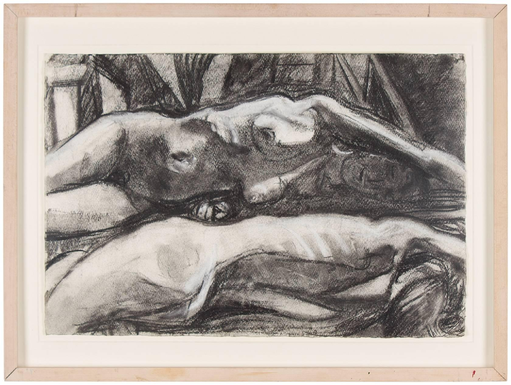 Untitled (7) Figural Expressionist Nude Charcoal Drawing