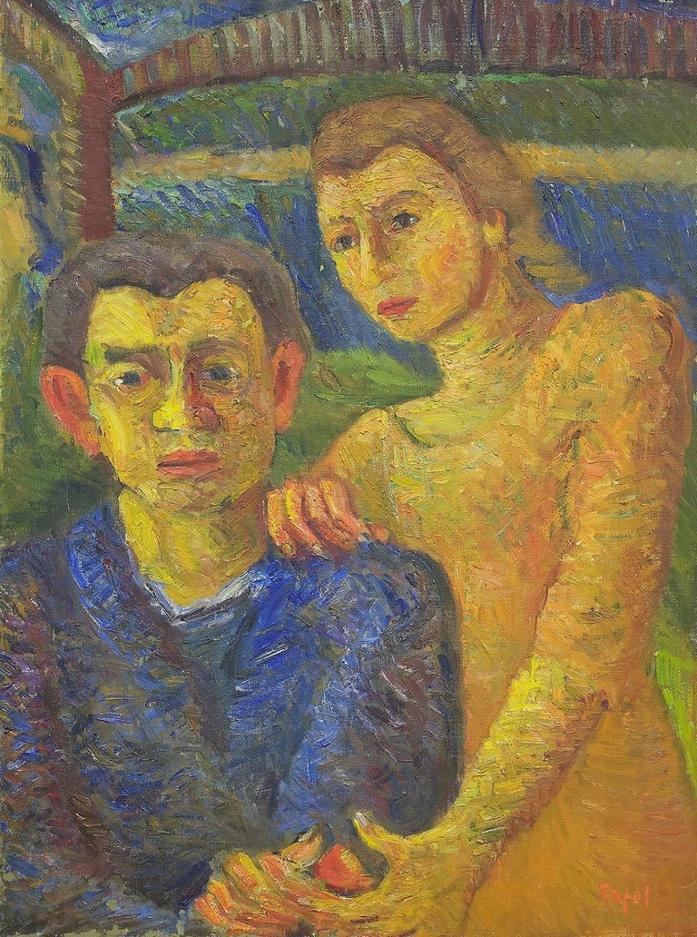 Two Figures, Self Portrait with Wife 1942 Expressionist Oil Painting