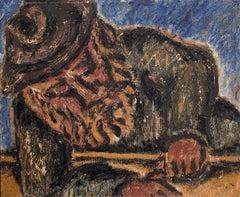 Modernist Rabbi at Study Judaica Oil Painting