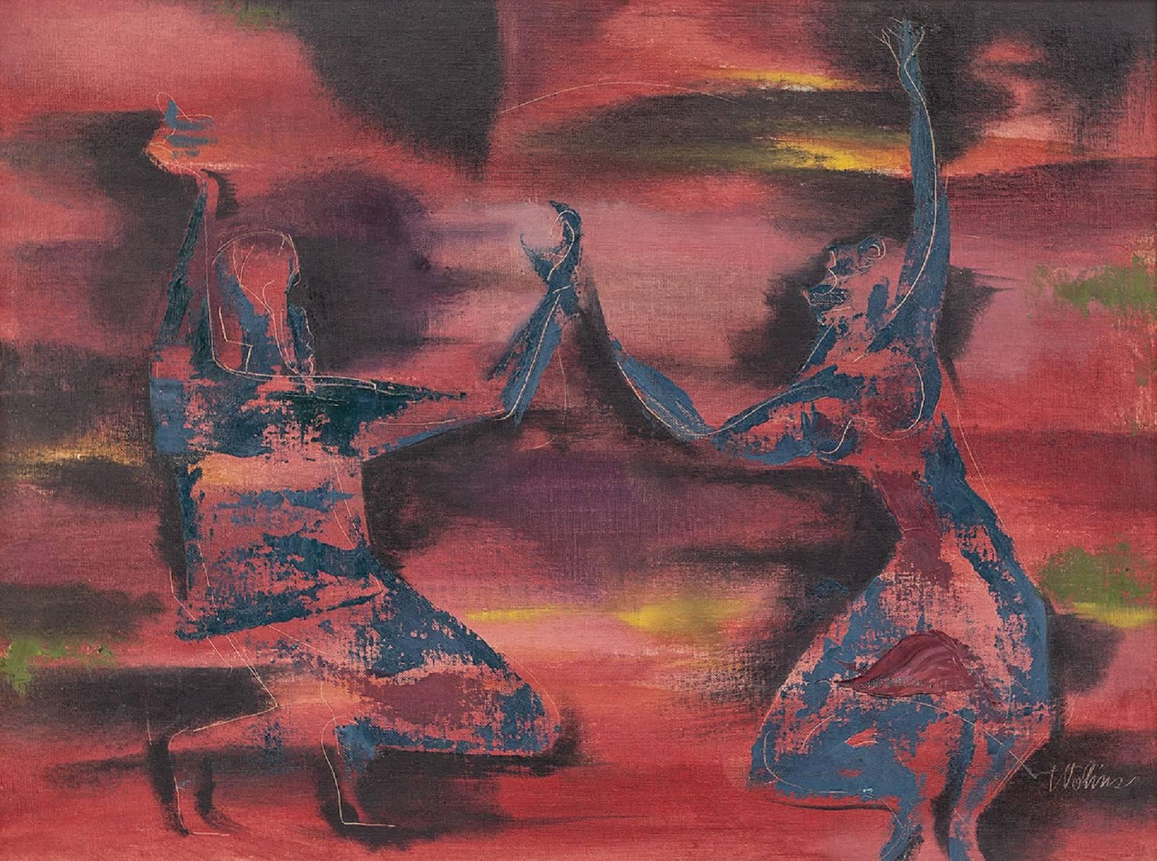 "Israeli ""Inbal Dancers at Midnight"" Modernist Dance painting"