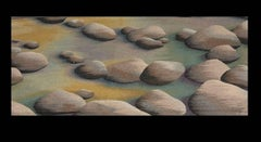 "Very Large Hand Woven Wool Tapestry ""Boulders II"" River Stones"