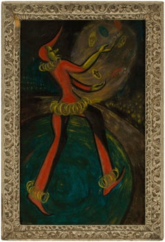 Circus Universal, Large Modernist Oil Painting with Clown Harlequin