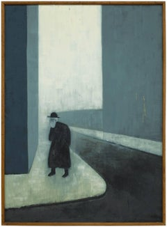 LARGE MODERNIST JUDAICA Oil Painting (RABBI WALKING THROUGH THE CITY)
