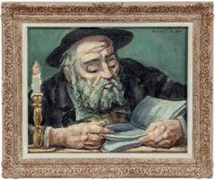 Rare Judaica Jewish Rabbi Oil Painting