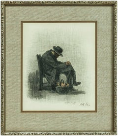 the Bagel Seller, Jewish Man Sleeping, Judaica Pastel Drawing