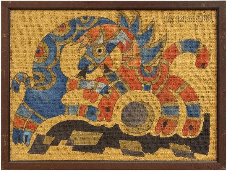 "Jose Maria de Servin Animal Painting - Mexican Folk Art ""Two Horses"" Circus Scene"