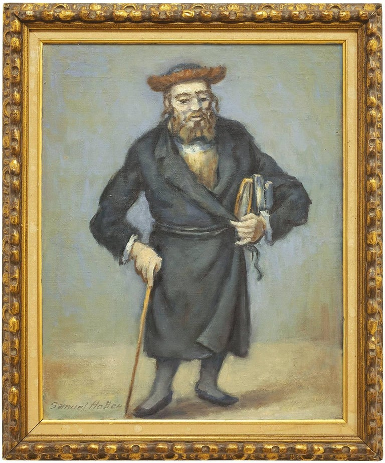 Samuel Heller Figurative Painting - Rare Judaica Rabbi Oil Painting (JEWISH MAN HOLDING A CANE AND BOOKS)