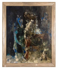 Large Surrealist painting 1956 LES DEUX CHEVAUX (THE TWO HORSES)