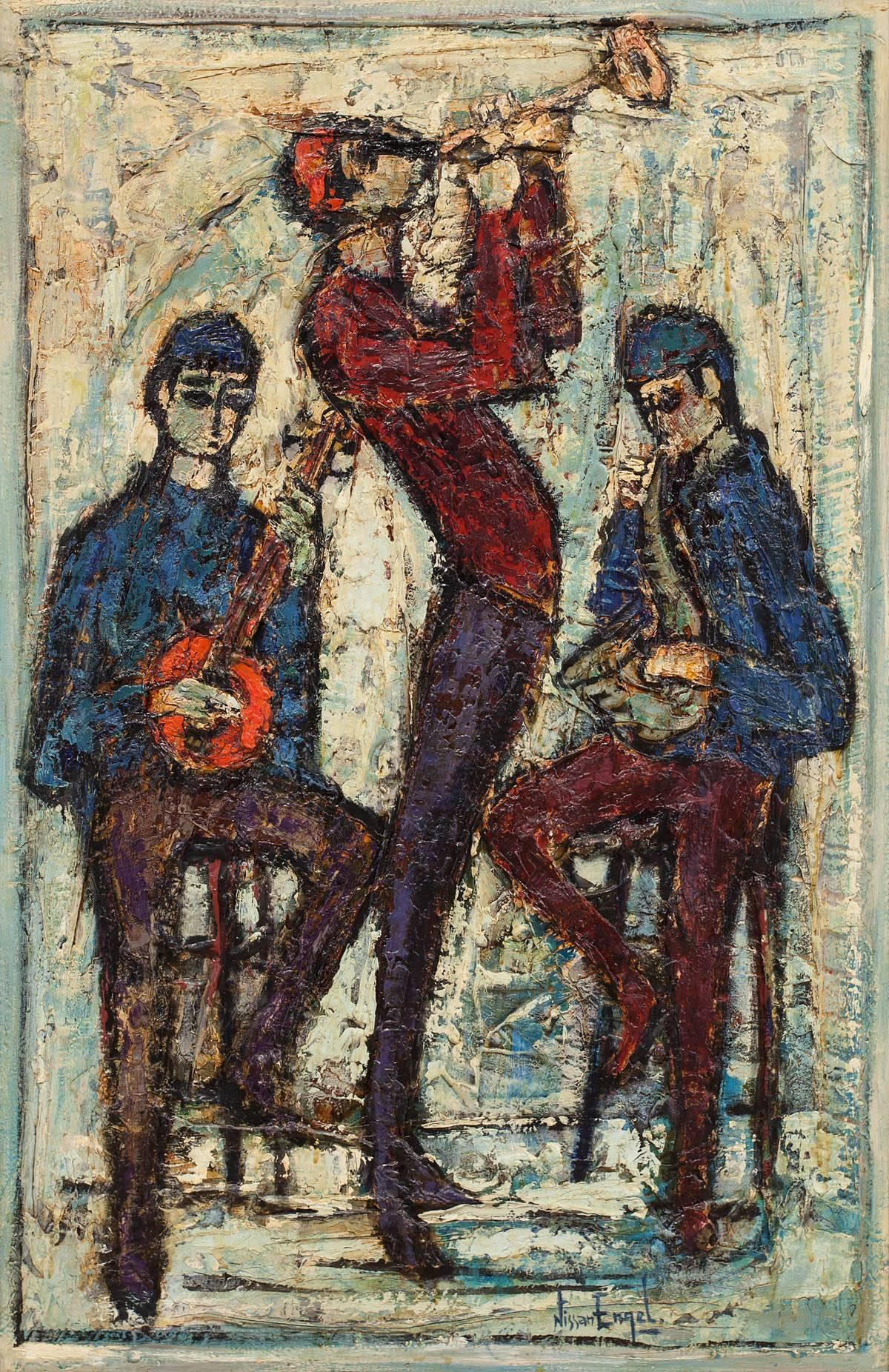 THREE MUSICIANS Large Oil Painting French Israeli Artist