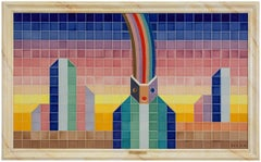 Arc en Ciel Large Belgian Mosaic Ceramic Tile Painting FOLON