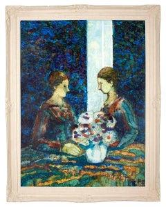 Sisters, American Impressionist Mid Century Oil Painting