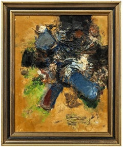 Mid Century Israeli Modern Abstract Mixed Media Painting David Sharir