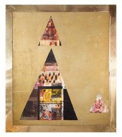 Sennedem, Abstract Italian Modernist Oil Painting in Brass Frame