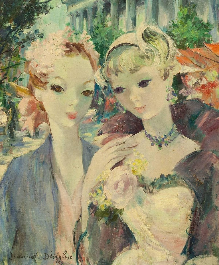 Parisian Beauties on the Boulevard, Post Impressionist French Painting For Sale 1