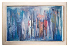 Blue, Mid Century Abstract Oil Painting