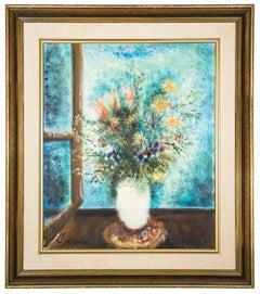 Vase of Flowers, Vibrant Oil Painting Israeli Artist