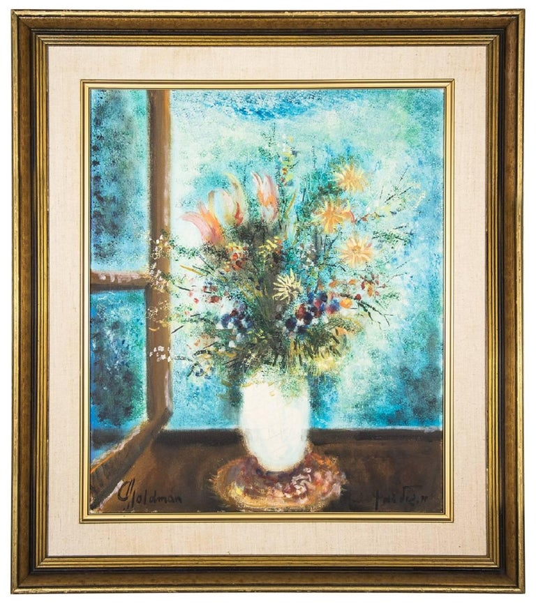Albert goldman vase of flowers vibrant oil painting for Israeli artists oil paintings