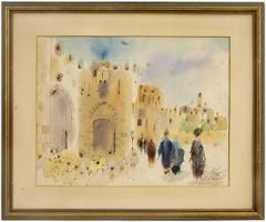 Jaffa Gate, Jerusalem Original Israeli Judaica Watercolor Painting