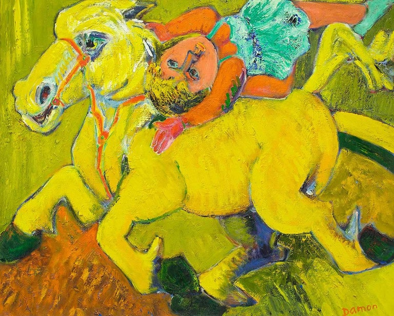 Equestrian Circus Act, Large Bold Expressionist Oil Painting - Brown Animal Painting by Hubert Damon