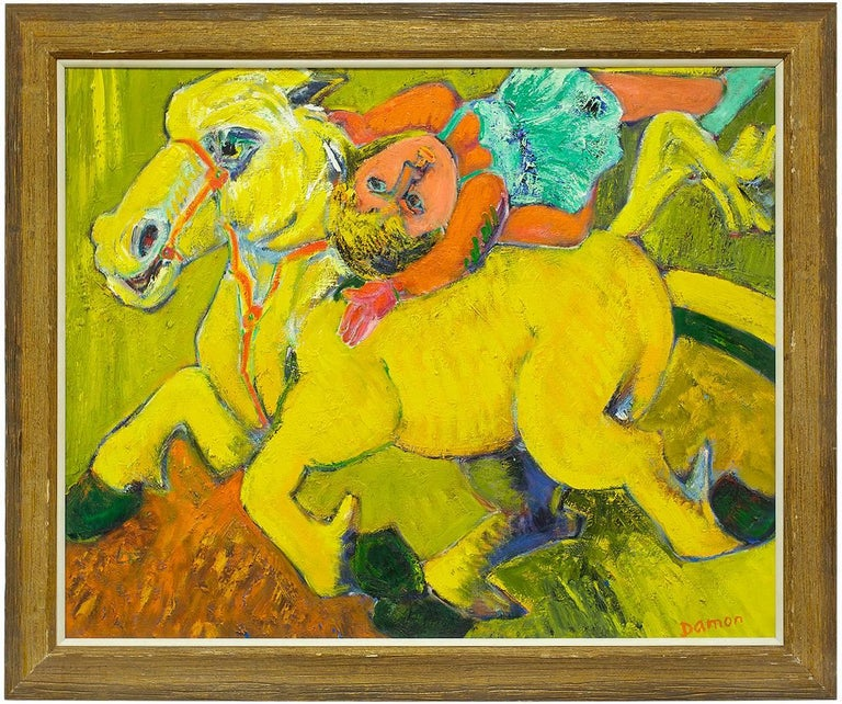 Hubert Damon Animal Painting - Equestrian Circus Act, Large Bold Expressionist Oil Painting