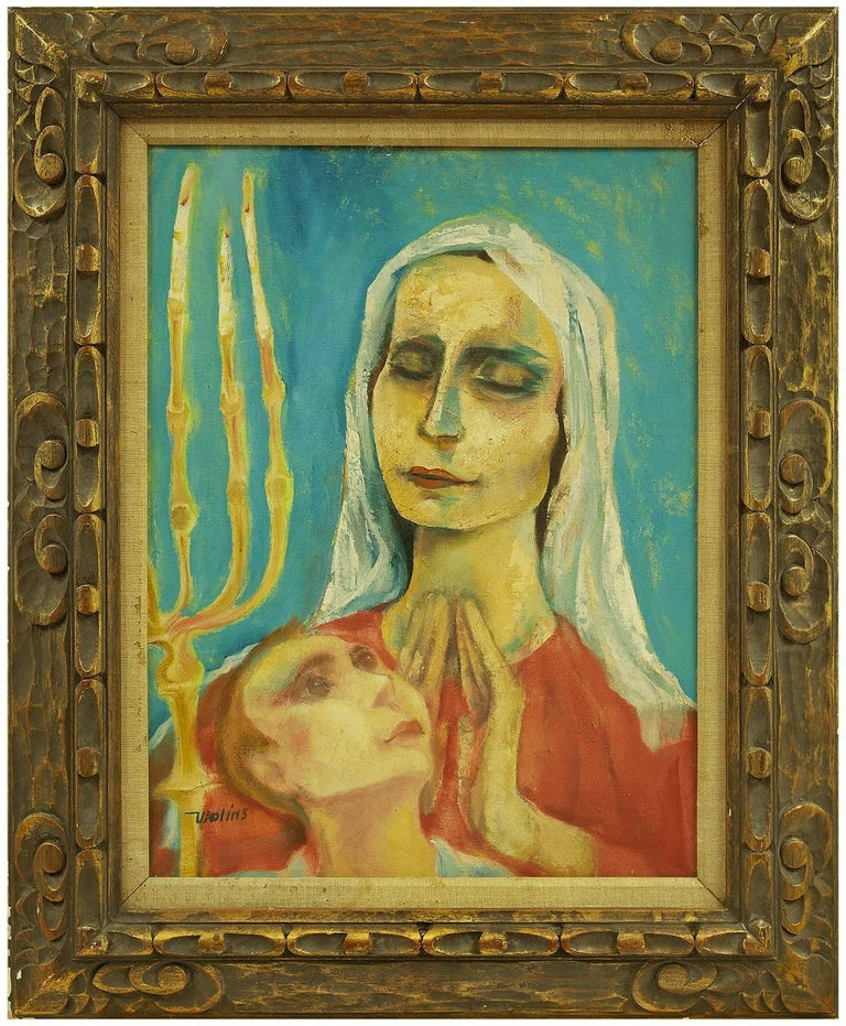 Sabbath Prayer (Lighting Shabbat Candles) Modernist Judaica Oil Painting