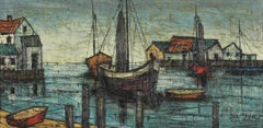 Modernist Oil Painting Boats in the Harbor