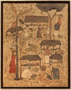 Asian Market Mixed Media Painting