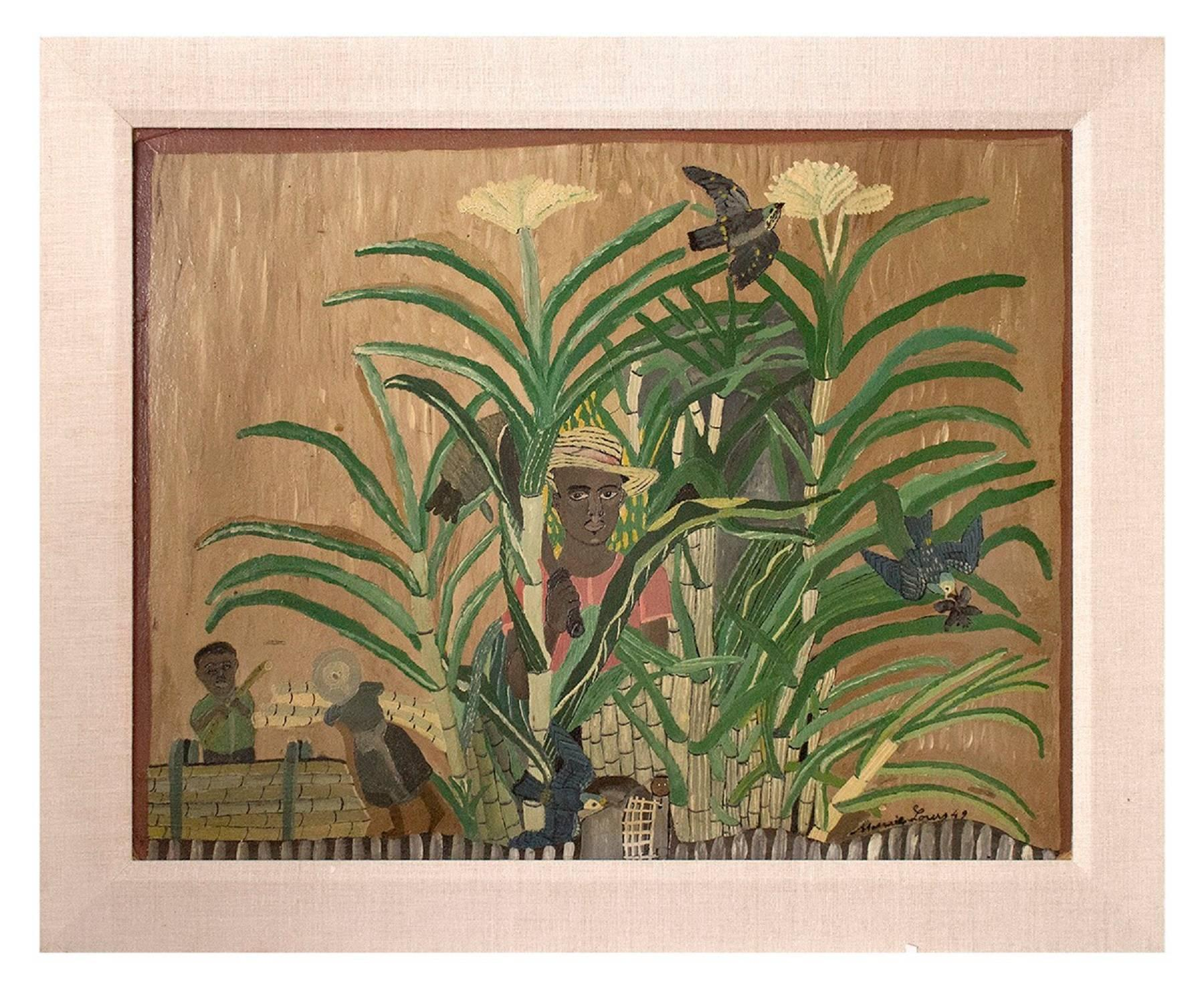 Oil Painting 1949 Figurative Scene in a Bamboo Jungle Plantation