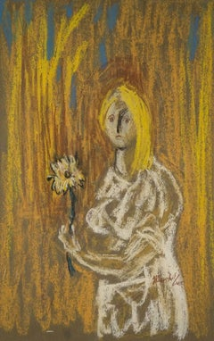 1945 Pastel Drawing Girl with Flower American Modernist