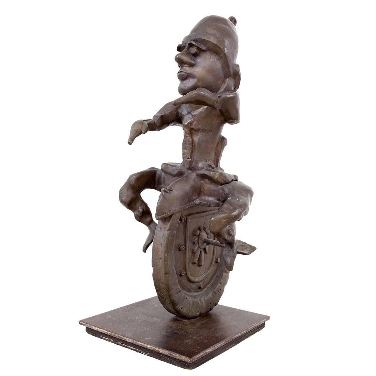 Whimsical Heavy Large Modernist Bronze Unicycle Sculpture