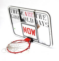 Stencilled, Stencil Painted basketball Hoop Sculpture signed and dated