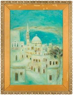 Large Polish Israeli Landscape Mid Century Oil Painting