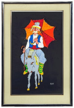 Bright Umbrella Donkey Ride, Acrylic on Paper