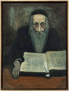 Rare Modernist Judaica Scholar Rabbi Studying Oil Painting