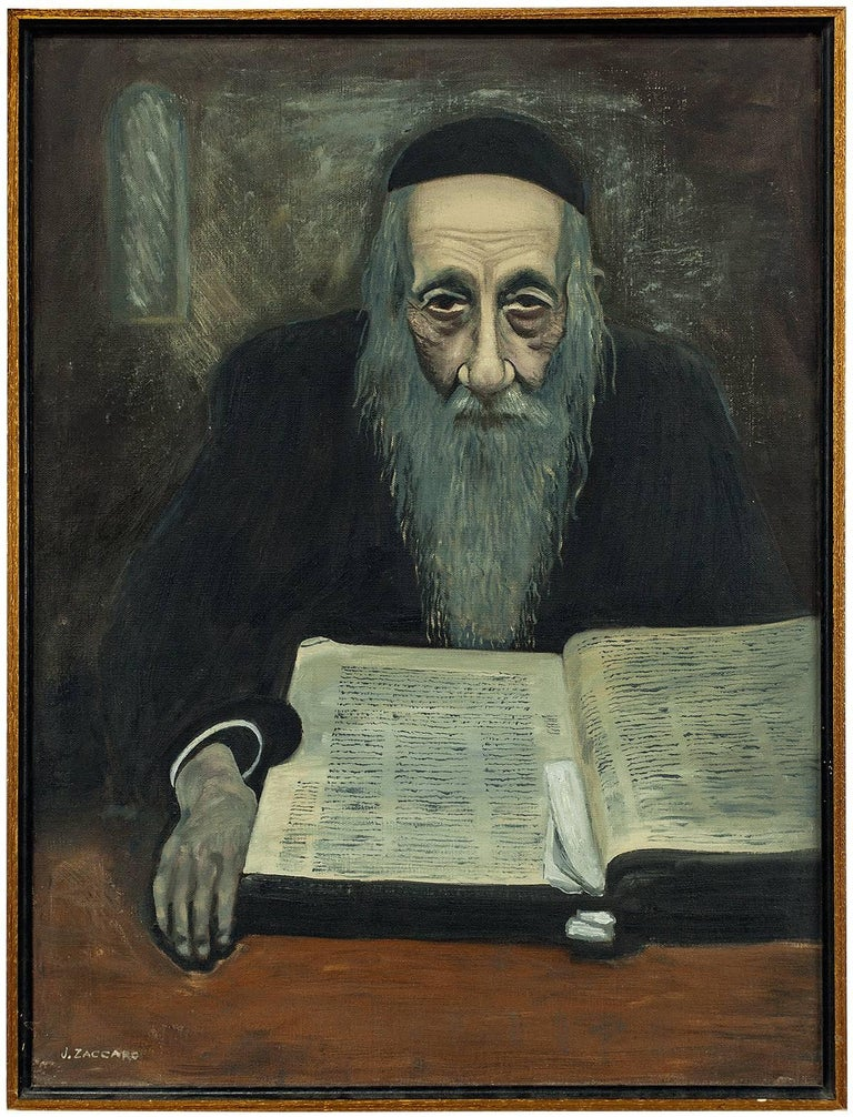 Rare Modernist Judaica Scholar Rabbi Studying Oil Painting