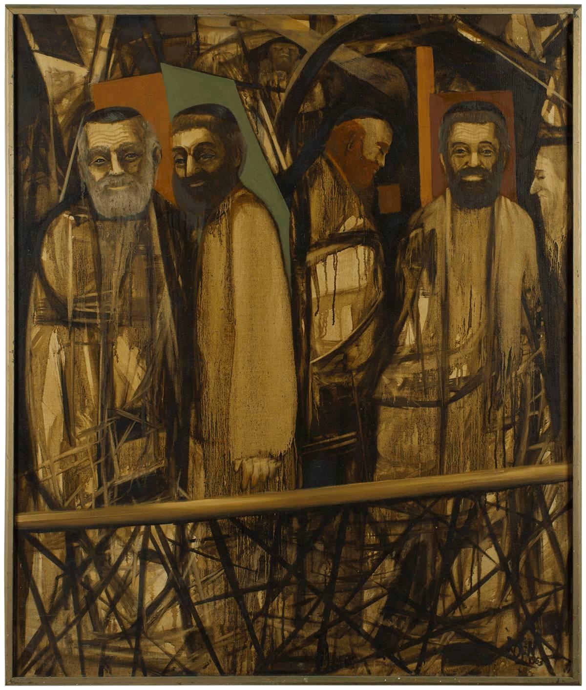 Sanctuary, Modernist Judaica Scene Oil Painting