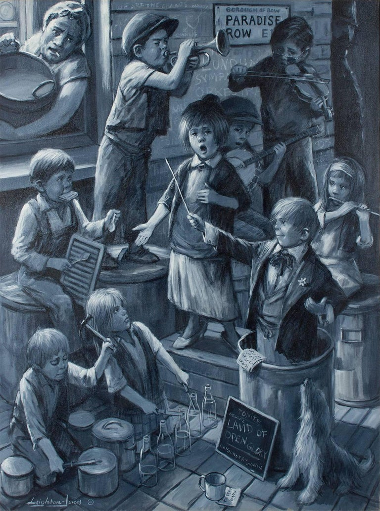 Band Of Street Urchins (Charles Dickens)  Large Oil Painting  - Black Figurative Painting by Barry Leighton-Jones